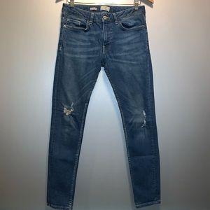 Topman Mid-Wash Distressed Spray-On Skinny Jeans